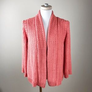 Chico's Loose Knit Chunky Open Cardigan Coral